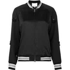3.1 Phillip Lim appliqué satin bomber jacket (73.330 RUB) ❤ liked on Polyvore featuring outerwear, jackets, black, metallic jacket, zip front jacket, patterned bomber jacket, zip bomber jacket and flower bomber jacket