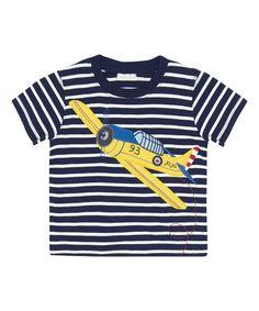 Look what I found on #zulily! Navy & White Stripe Aeroplane Tee - Infant, Toddler & Boys #zulilyfinds