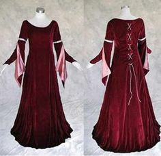 Artemisia Designs Medieval Renaissance Gown Burgundy Velvet with Rose Satin S