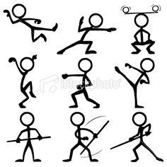 Stickfigure Kung-Fu Royalty Free Stock Vector Art Illustration