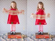 Pale grey polka dots + burlap banner + twinkle light = adorable Christmas photo. From Kate's 4 year session, photo by Krista Lee