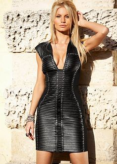 Venus.com Black (BK) Dress With Faux Leather  69 Unleash your inner rock 4db5be48f