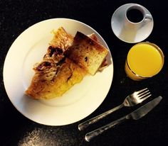 Barcelona breakfast of chorizo omelette. Served with toasted sourdough, espresso and OJ.