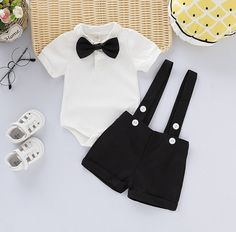 * Button closure * High quality * Comfy and soft * Material: Cotton, Spandex * Machine wash, tumble dry * Include: 1 bodysuit, 1 shorts * Imported Baby Outfits Newborn, Baby Boy Outfits, Kids Outfits, Unique Baby Clothes, Vintage Baby Clothes, Black Tie Attire, Boys Tuxedo, Baby Suit, Baby Boy Shoes