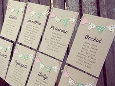 Tabla Plan, tarjetas individuales mesa Plan de arreglo para boda rústica del país. Plan de mesa de boda alternativo