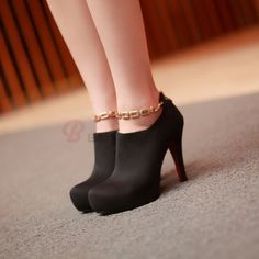 Women's Suede Metal Decorated Back Zip High Stiletto Shoes