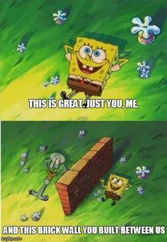 Funny Spongebob Memes, Cartoon Memes, Funny Relatable Memes, Funny Jokes, Hilarious, Spongebob Squidward, Funny Troll, Funny Cartoons, Pineapple Under The Sea