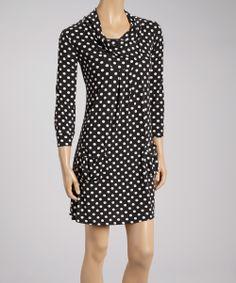 Black & White Polka Dot Split-Neck Dress