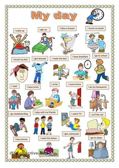 : My day. worksheet Free ESL printable worksheets made by teachers Health Ad English Primary School, English Grammar For Kids, English Worksheets For Kids, English Verbs, English Language Learning, English Vocabulary, English Teaching Materials, Teaching English, English Lessons