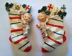 Vintage NORCREST Christmas Stocking Wall Pockets SET OF 2 RARE FIND!!