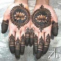 A beautiful inspiring henna design! Mehndi artist unknown so please if you come across this image and you are or you know the artist please comment below and I will add it to the description! Henna Hand Designs, Eid Mehndi Designs, Mehndi Designs Finger, Wedding Mehndi Designs, Mehndi Designs For Fingers, Latest Mehndi Designs, Henna Tattoo Designs, Round Mehndi Design, Palm Mehndi Design