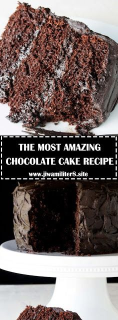 The Most Amazing Chocolate Cake is here. I call this my Matilda Cake because I swear it's just as good as the cake that Bruce Bogtrotter ate. Homemade Chocolate, Chocolate Recipes, Cake Recipes, Dessert Recipes, Fun Recipes, Popular Recipes, Delicious Recipes, Recipe Ideas, Breakfast Recipes