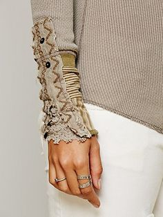 @: Cuff Thermal...embellished with embroidery, stripped fabric & crochet detailing...