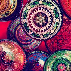 Hand painted plates from Thailand