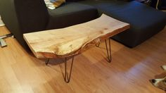 Solid maple table finished onto raw steel hairpin legs