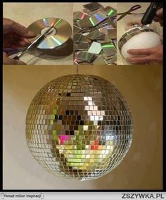 Reuse old CDs to make a disco ball.