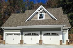 """This rustic detached 3-bay garage with a large studio apartment above makes a great addition to an existing home. And it also makes a very functional standalone guest or vacation home.The garage doors are each 9' wide giving you plenty of room to fit in your vehicles without a scratch.The gable bump is 10'4"""" x 5'0"""".The width and depth does not include the roof overhangs which are approximately 1'. #shedplans Side Hinged Garage Doors, Wooden Garage Doors, Garage Door Design, Garage House, House Doors, Barn Garage, Diy Garage, Dream Garage, Garage Plans"""