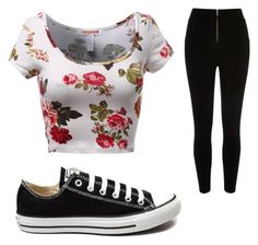 """""""floral outfit"""" by mailynz ❤ liked on Polyvore featuring Converse, women's clothing, women, female, woman, misses and juniors"""