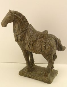 Chinese Tang Horse Carved One Piece Jade Green Soapstone? Marble? - A32E