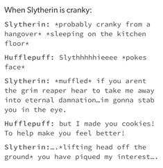 Harry Potter Houses, Harry Potter Fandom, Hogwarts Houses, Harry Potter Memes, Harry Potter World, Potter Puppet Pals, Slytherin And Hufflepuff, Harry Potter Universal, Drarry