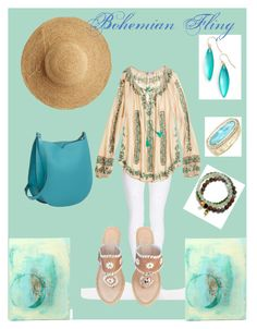 """Bohemian Fling"" by stephanie-mcclaran ❤ liked on Polyvore featuring Dr. Denim, Calypso St. Barth, Valextra, Flora Bella, Jack Rogers, Alexis Bittar, Satya Jewelry, Kendra Scott and WALL"