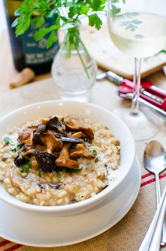 Wild Mushroom Risotto - a classic favorite comfort food, especially with truffles <3