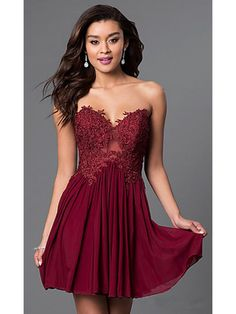 A-Line Sweetheart Short Lace Chiffon Homecoming Prom Evening Dresses 99501051