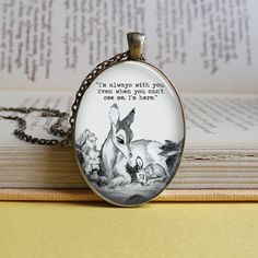 Deer, Parent, Fawn, Friendship Silver Or Bronze Oval Bambi /& Mother Always with You Quote Dome Pendant Necklace