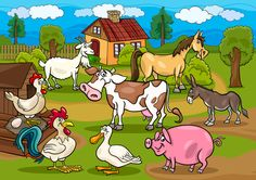 Illustration about Cartoon Illustration of Rural Scene with Farm Animals Livestock Big Group. Illustration of caricature, chicken, cute - 29300616 Free Rabbits, Groups Poster, Exploration, Farm Yard, Zoo Animals, Livestock, Illustrations Posters, Clip Art, Character