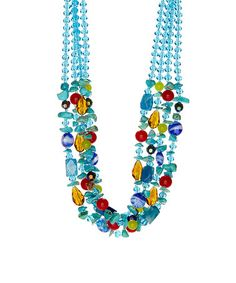 Another great find on #zulily! Aqua & Yellow Magnesite Beaded Multi-Strand Necklace #zulilyfinds