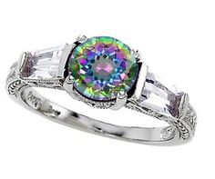Multi-colored lab-created topaz ring with CZ stones set in sterling silver.