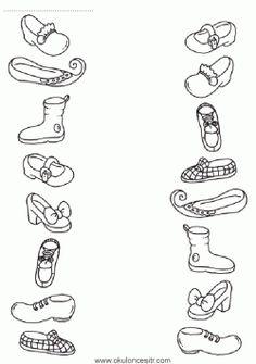 Ayakkabıları Eşleştirme Çalışma Kağıdı