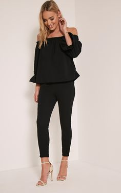 Evalyn Black Cropped Trousers