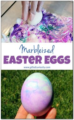 Marbleized Easter eggs | A fun and sensory-rich way to make beautiful Easter eggs | Shaving cream and liquid watercolor eggs for Easter | #Easter || Gift of Curiosity Easter Activities For Preschool, Kids Learning Activities, Spring Activities, Preschool Activities, Preschool Teachers, Holiday Activities, Easter Gift, Easter Crafts, Easter Ideas