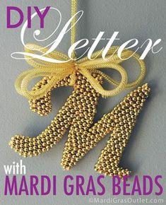 diy monogram letter mardi gras bead craft ideas