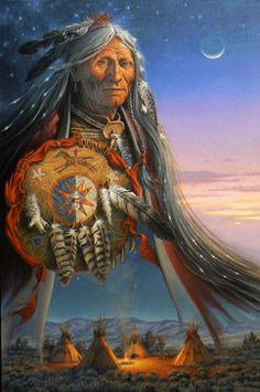 A Shaman of the northern plains journeys into the stars. He carries his shield of medicine and ascends with the smoke of the sacred fire. The drummer sits halfway between the East lodge and the South lodge, maintaining the beat for the journey.