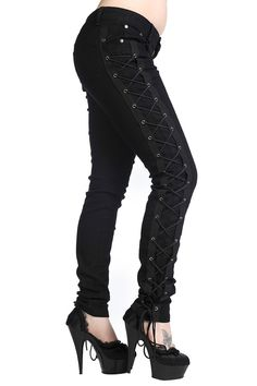 Gothic Rockabilly Steampunk Cyber Black Side Corset Skinny Jeans Pants – Gothic outfits black skinny jeans, Steampunk Black lace-up jeans, EMO black skinny jeans Lace Up Trousers, Trouser Jeans, Trousers Women, Corset Pants, Women's Jeans, Black Skinnies, Black Jeans, Sexy Jeans, Casual Cosplay