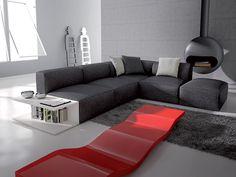 #divano componibile cubo grigio con portariviste