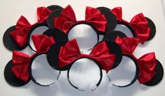 Party Pack of 6 Minnie Mouse Ears on Party Headbands with Large Double Bow $25
