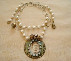 Parisian Girl Pendant Necklace with Vintage by joyceshafer on Etsy, $34.95