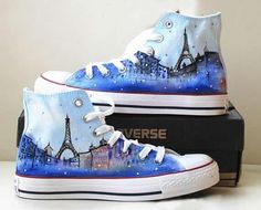 Eiffel tower shoes converse galaxy converse Custom converse hand painted shoes canvas shoes s