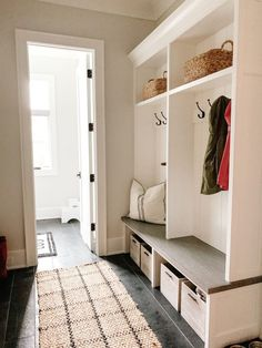 Our Mudroom Design + Organization - my kind of sweet Home Organization, Organizing Ideas, Bench Mudroom, Basement Storage, Sweet Home, New Homes, Interior Design, Entryway Ideas, Furniture