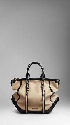 Large Cotton Gabardine Belted Tote Bag | Burberry