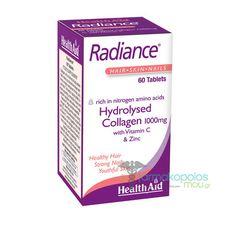 Τo Radiance της HealthAid περιέχει θαλάσσιο Κολλαγόνο υδρολυμένο τύπου ΙΙ, για καλύτερη και ταχύτερη απορρόφηση σε συνδυασμό με Βιταμίνη C & Ψευδάργυρο, που έχουν αντιοξειδωτικές & επουλωτικές ιδιότητες.  Δρουν συνεργ...