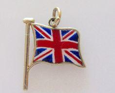 9ct Gold and Enamel Union Jack British Flag Charm or Pendant by TrueVintageCharms on Etsy