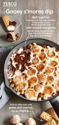 S'mores dip For this super-indulgent s'mores dip, silky smooth chocolate ganache is topped with melting toasted marshmallows – an ideal Bonfire Night snack for a crowd. Grab biscuits, fresh fruit or mini doughnuts for dunking and dig in immediately! Dip Recipes, Sweet Recipes, Baking Recipes, Dessert Recipes, Recipies, Bonfire Night Treats, Night Snacks, Bonfire Food, Bonfire Cake
