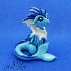 Vaporiffin the griffin - clay sculpture - Premo Sculpey polymer figurine sculpture dragon gryphon blue water