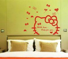 Hello Kitty TV Wall Bedroom Living Room Decor Mural Art Vinyl Sticker