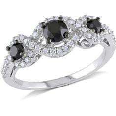 Miadora 1 CT Black and White Diamond TW 3 Stone Ring 10k White Gold GH I2;I3 Black Rhodium Plated