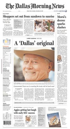 Larry Hagman got a big front page on the Dallas Morning News
